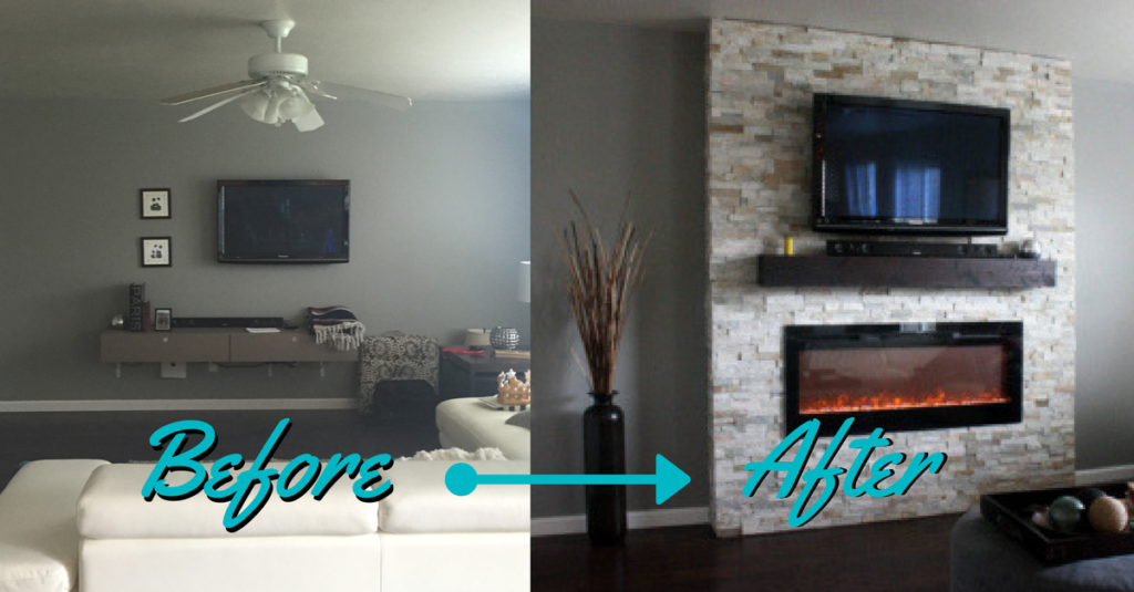 Diy how to build a fireplace in one weekend whitney hansen before and after diy electric fireplace solutioingenieria Gallery