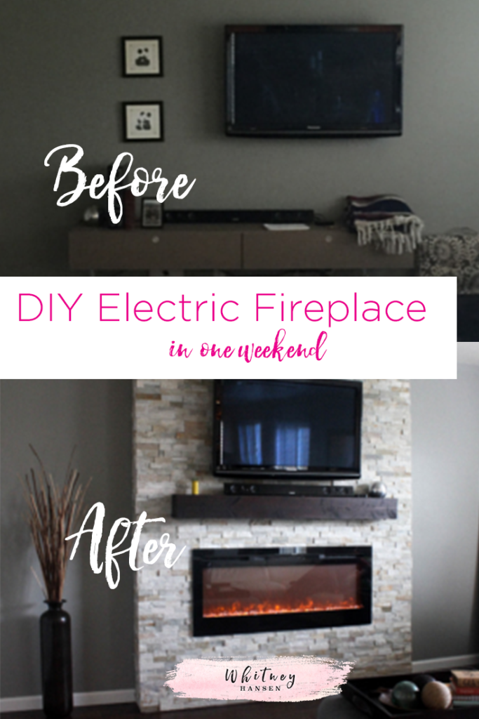 Diy how to build a fireplace in one weekend whitney hansen diy electric fireplace surround solutioingenieria Gallery